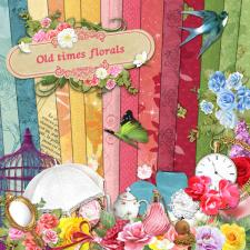 "Digital kit ""Old times florals"""