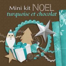 """Mini-kit """"Noel turquoise et chocolat"""" par téléchargement"""
