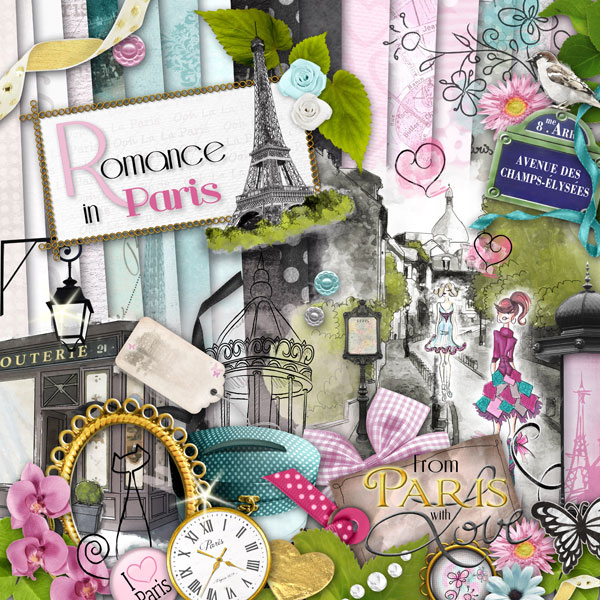 Digital kit romance in paris by download cdip boutique - Scrapbooking paris boutique ...