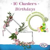 "Mini pack of cluster frames on ""Birthdays"" by download"