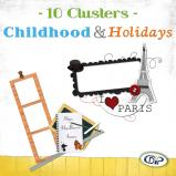 "Mini pack of cluster frames on ""Childhood and holidays"" by download"