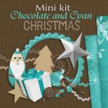 "Mini digital kit ""Chocolate and Cyan Christmas"" by download"