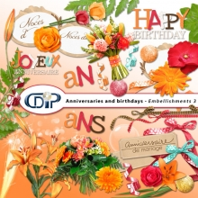 Anniversaries and birthdays digital kit embellishments web
