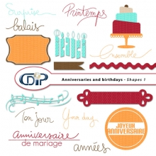 Anniversaries and birthdays digital kit shapes