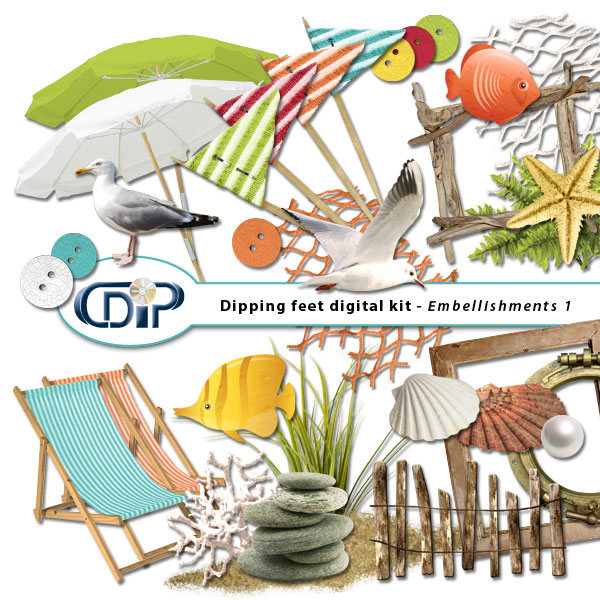 """Dipping Feet in Water"" digital kit - 02 - Embellishments 1"