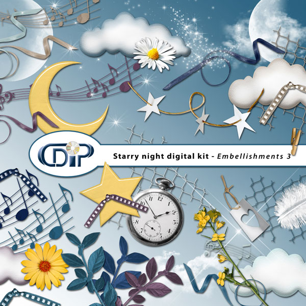 """Starry Night"" digital kit - 04 - Embellishments 3"