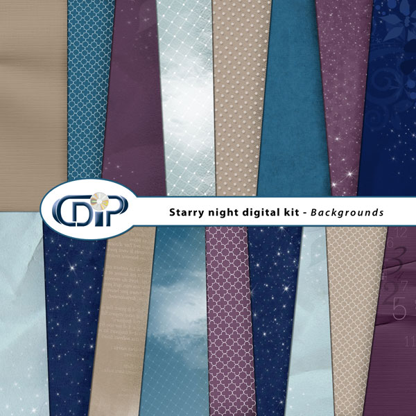 """Starry Night"" digital kit - 01 - Backgrounds"