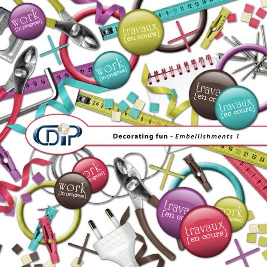 """Decorating fun"" digital kit - 02 - Embellishments 1"
