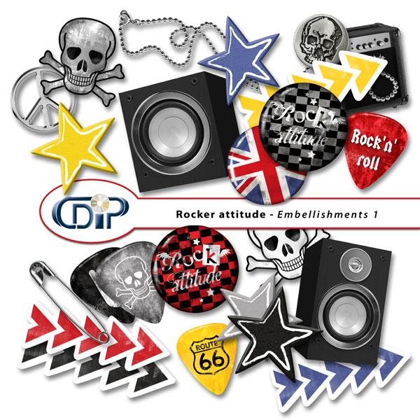 """Rocker attitude"" digital kit - 02 - Embellishments 1"