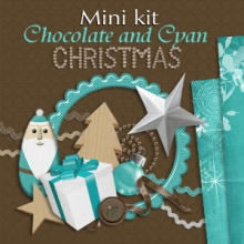 "Mini kit ""Chocolate and Cyan Christmas"" - 00 - Presentation"