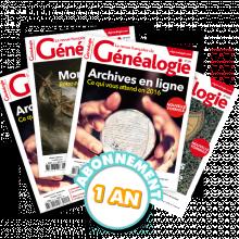 La Revue française de Généalogie - Abonnement pour 1 an
