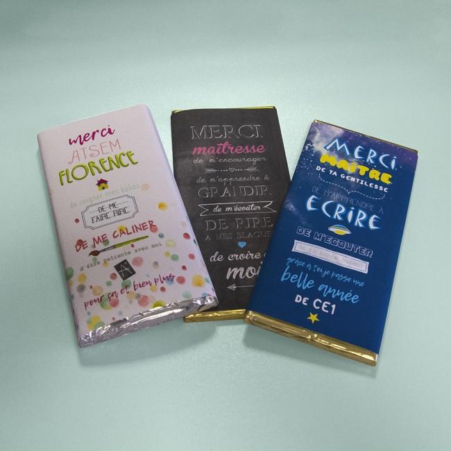 Etiquettes pour tablettes de chocolat personnalisées