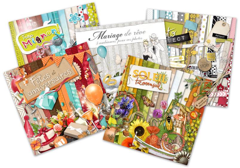 Kit de digiscrapbooking sur le thème loisirs, enfance et jeux