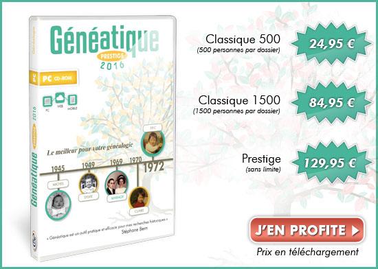 Notre offre pour Généatique ! Classique : 24,95 Eur | Prestige : 129,95 Eur
