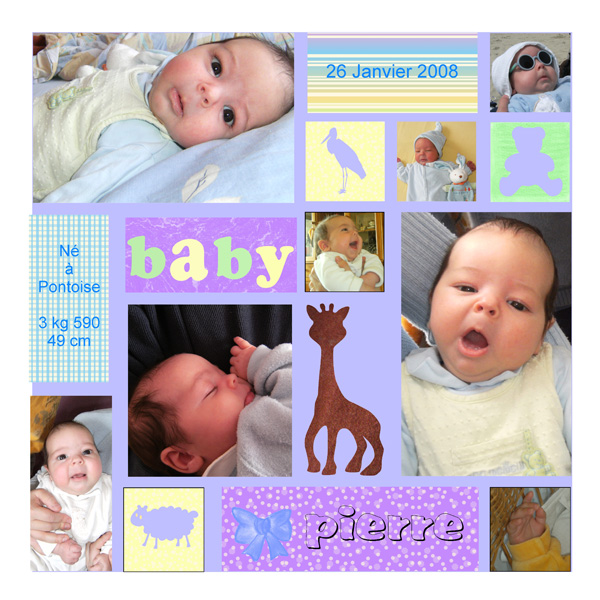 modele page scrapbooking naissance