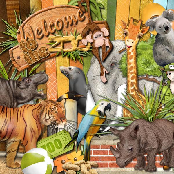 digital kit wel e to the zoo cdip boutique   logiciel de g n alogie et scrapbooking