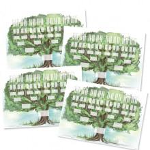 4 Arbres généalogiques 6 générations, crayonné imprimé - format A2