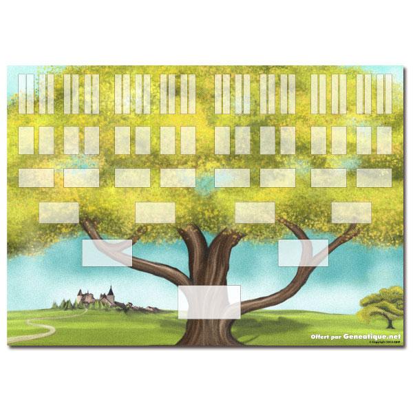 Arbre g n alogique imprimer 6 g n rations paysage pointilliste cdip boutique logiciel de - Imprimer arbre genealogique ...