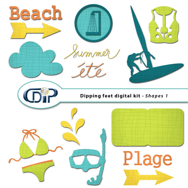 """""""Dipping Feet in Water"""" digital kit - 06 - Shapes 1"""