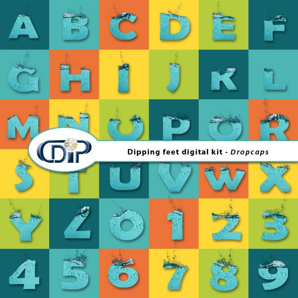 """""""Dipping Feet in Water"""" digital kit - 08 - Dropcaps"""