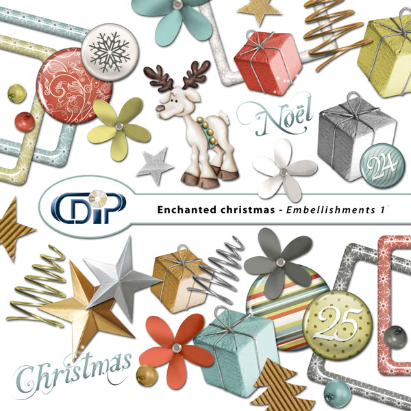 """Enchanted Christmas"" digital kit - 02 - Embellishments 1"