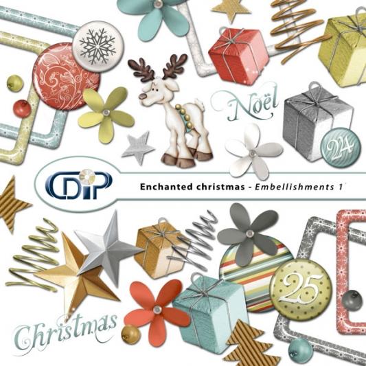 """Enchanted Christmas"" digital kit - 02 - Embellishments 1"