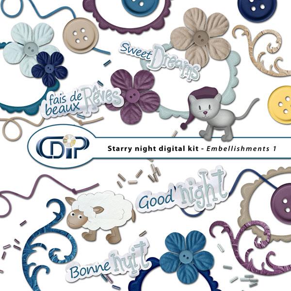 """Starry Night"" digital kit - 02 - Embellishments 1"