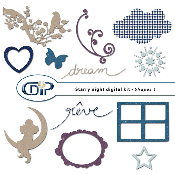 """Starry Night"" digital kit - 05 - Shapes 1"