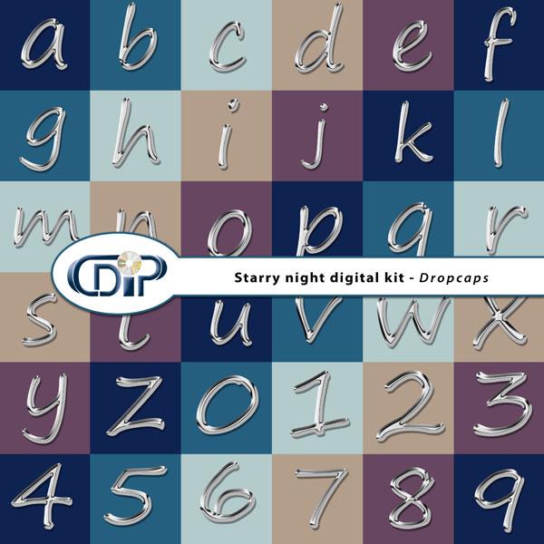 """""""Starry Night"""" digital kit - 07 - Dropcaps"""