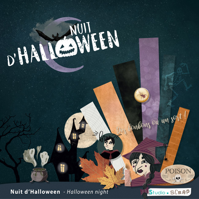 nouveau kit 2020 Nuit d'halloween scrapbooking digital