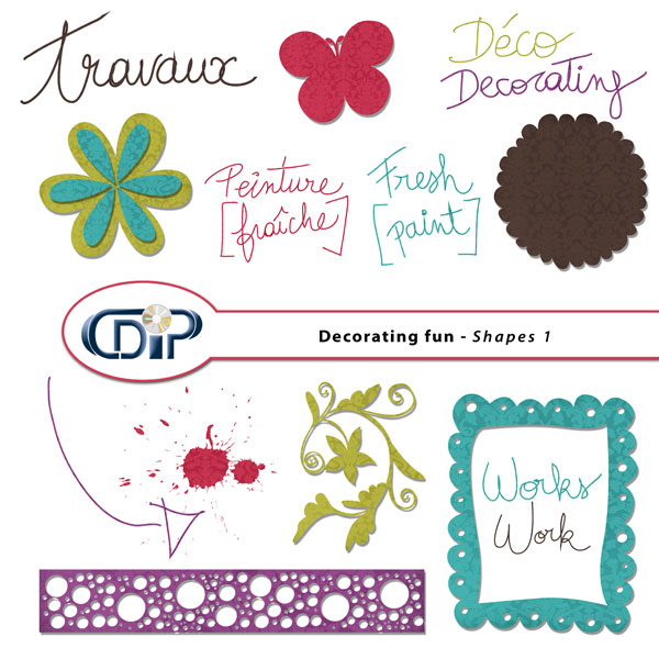 """Decorating fun"" digital kit - 05 - Shapes 1"
