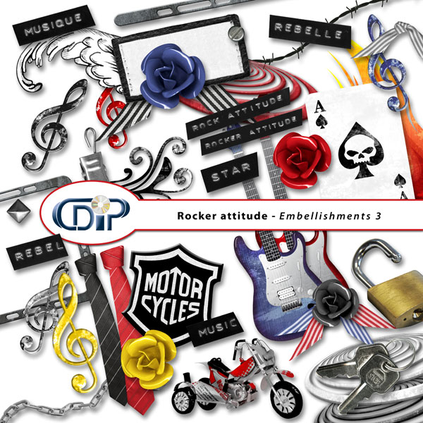 """Rocker attitude"" digital kit - 04 - Embellishments 3"