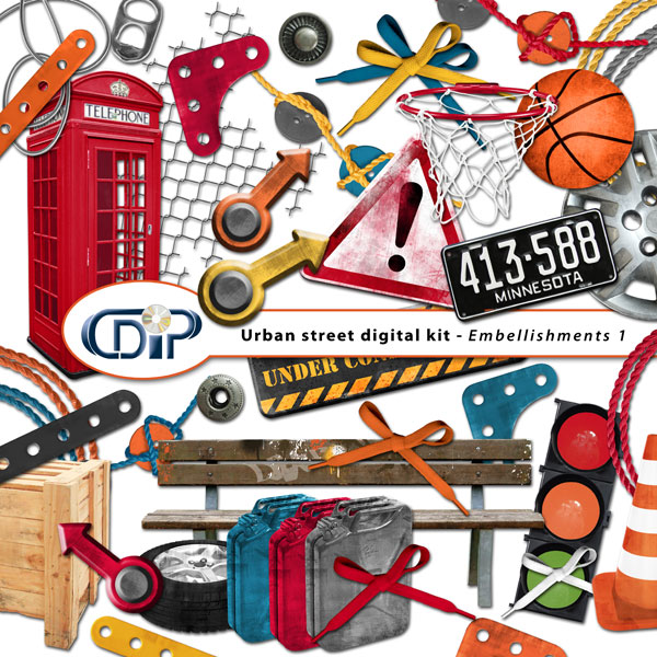 """""""Urban Street"""" digital kit - 02 - Embellishments 1"""