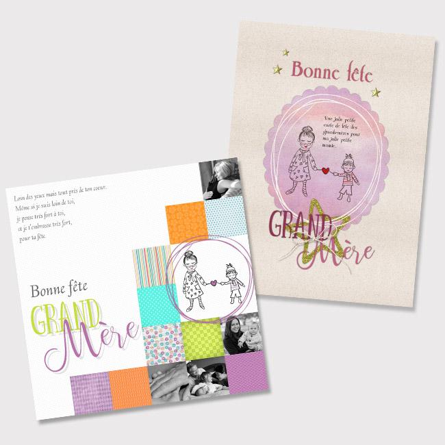 Deux cartes fête des Grand-Mères