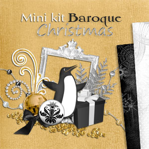 Mini Scrapbooking digital kit Baroque Christmas